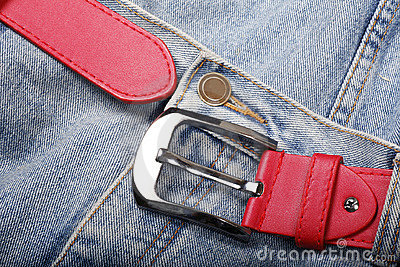 Jeans with red belt