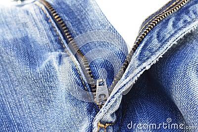 Jeans zipper on white
