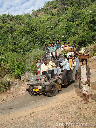 Jeep carries villagers to the  weekly market Editorial Photo