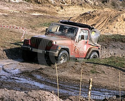 Jeep in the mud road Editorial Stock Photo