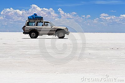 Jeep on Salt Flats of Uyuni, Bolivia