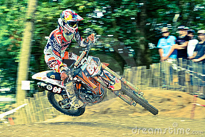 Jeffrey Herlings leans his bike in the air Editorial Stock Photo