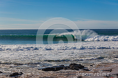 Jeffreys Bay Surfer Wave Wall Long Editorial Photography