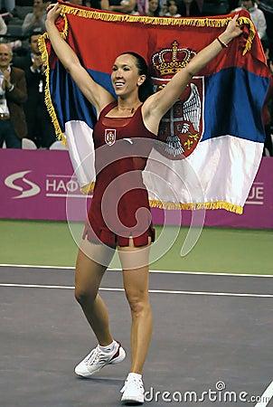 Jelena Jankovic with Serbian flag Editorial Stock Photo