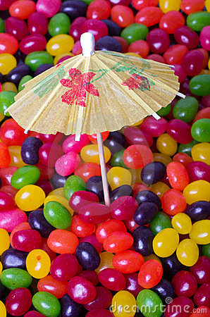 Jelly Bean beach portrait with umbrella