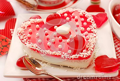 Jelly cake in heart shape for valentines
