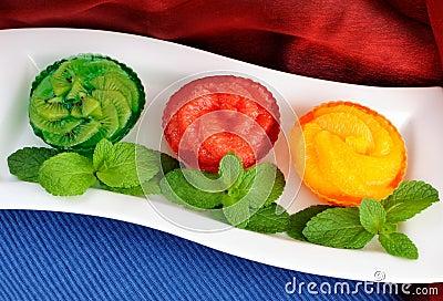 Jelly dessert of fresh fruit