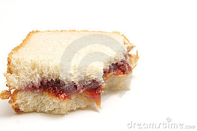 Jelly sandwich half eaten