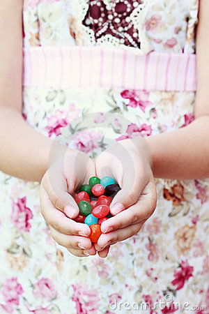 Free Jellybeans In Hand Royalty Free Stock Photography - 24050847