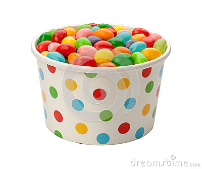 Jellybeans in a Paper Cup with clipping path