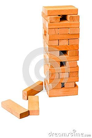 Jenga blocks tower - isolated