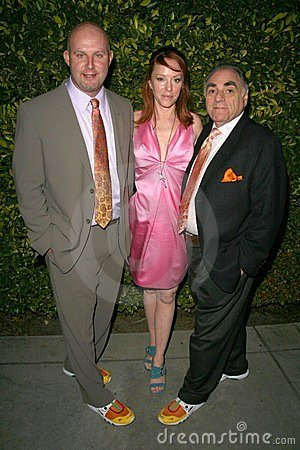 Jenny McShane with Mark Allen and Stephen Gold of Glagla Shoes at Global Green USA s 6th Annual Pre-Oscar Party. Avalon Hollywood, Editorial Stock Photo