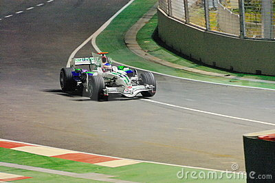 Jenson Button s Honda car in Singapore F1 2008 Editorial Stock Photo