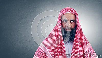 Jeque árabe islámico con la barba