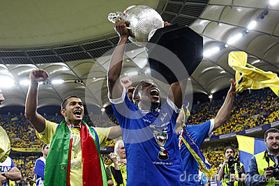 Jeremy Bokila (CR) holding the Romanian Cup Editorial Photo