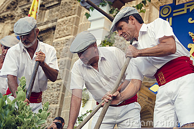Jerez, Spain - September 10, 2013: Traditional stomping grapes i Editorial Photo
