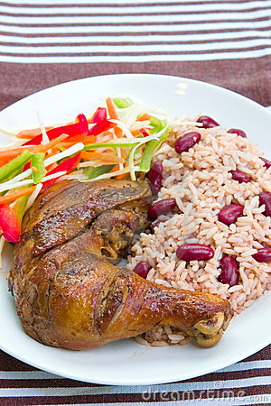 Jerk Chicken With Rice - Caribbean Style Stock Images ...