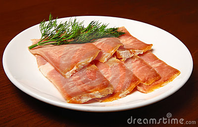 Jerked meat slices on a plate