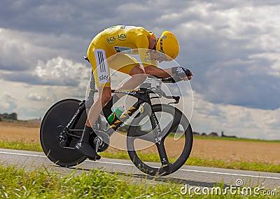 Jersey amarela Bradley Wiggins Foto Editorial