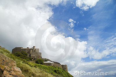 Jersey s Mount Orgueil castle and sky