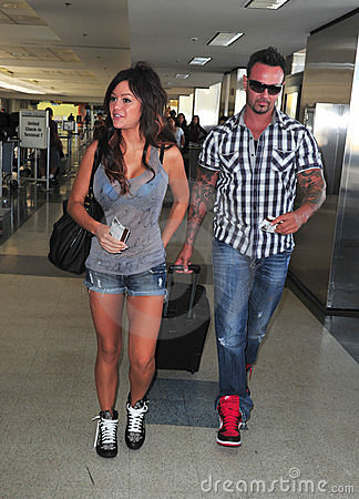 Jersey Shore girl Jwow with boyfriend at LAX Editorial Photography