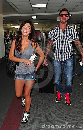 Jersey Shore girl Jwoww with boyfriend at LAX Editorial Photography