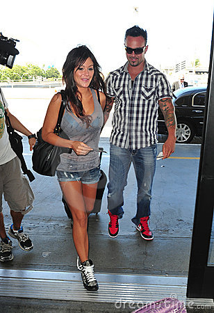 Jersey Shore girl Jwoww with boyfriend at LAX Editorial Stock Photo
