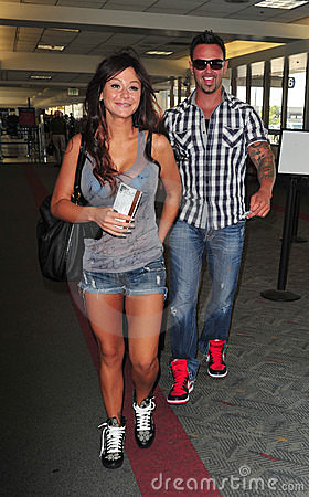 Jershey Shore star Jwow with boyfriend at LAX Editorial Stock Image