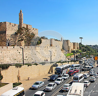 Jerusalem Busy Traffic Editorial Photography