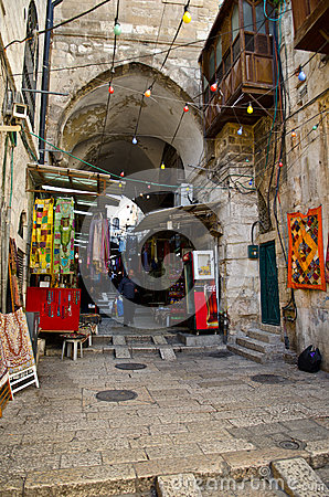 Jerusalem City Market Alley Editorial Stock Image