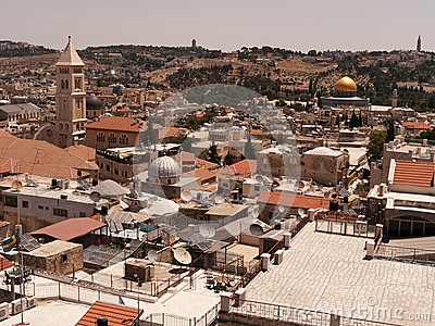 Jerusalem cityscape with Omar mosque