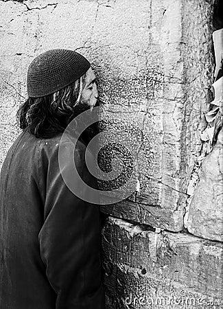 Man Praying At The Western Wall Editorial Stock Image