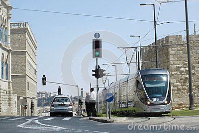 Jerusalem Light Rail Editorial Stock Image