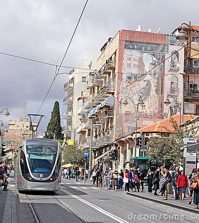 Jerusalem Light Rail Editorial Stock Photo