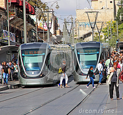 Jerusalem Light Rail Editorial Photography