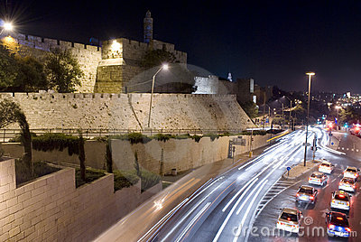 Jerusalem at night Editorial Stock Image