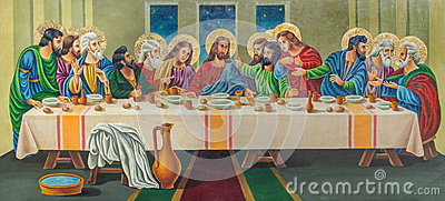 Jerusalem - The painting The Last supper by artist Andranik (2001) on the wood in orthodox church Tomb of the Virgin Mary