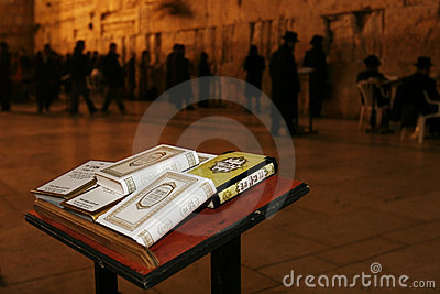 THE JERUSALEM WAILING WALL AT NIGHT