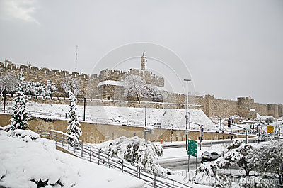 Jerusalem walls during snowfall