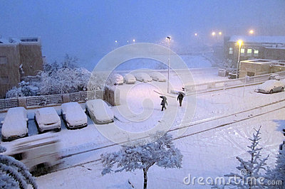 Jerusalem of white: Snow falls in capital Editorial Stock Photo