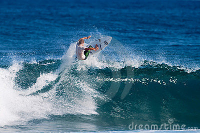 Jesse Merle Jones Surfing at Rocky Point in Hawaii Editorial Image