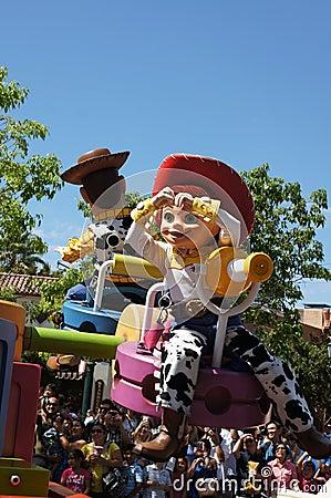 Jesse y desfile arbolado en Disneylandya Imagen de archivo editorial