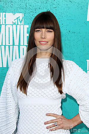 Jessica Biel arriving at the 2012 MTV Movie Awards Editorial Photo