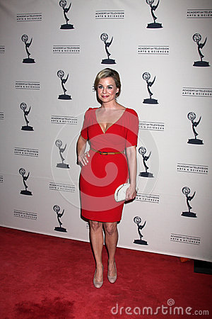 Jessica Collins arrives at the ATAS Daytime Emmy Awards Nominees Reception Editorial Stock Photo