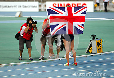 Jessica Judd from Great Britain celebrates silver Editorial Photo