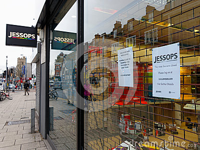 Jessops camera store closed down on High Street Putney in London Editorial Stock Photo