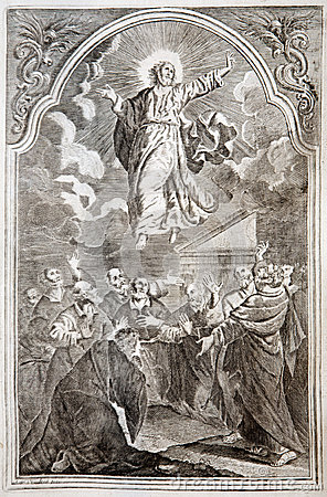 Jesus ascension. Lithography print in Missale romanum