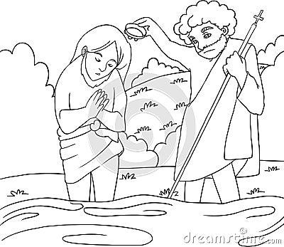 Jesus Baptism - B/W lineart
