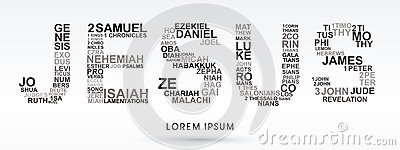 Jesus with bible words genesis to revelation Vector Illustration
