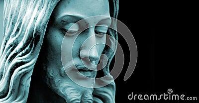 Jesus, blue duo toned photo copy-space